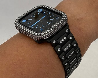 Bling Apple Watch Band Black and or Iced Out Lab Diamond Bezel 38mm 40mm 42mm 44mm Series 6 SE blb1