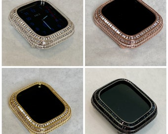 Apple Watch Bezel Cover 40mm 44mm 3 Rows of Lab Diamond Baguettes Silver, Rose Gold, Yellow Gold, Black
