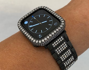 Luxury Apple Watch Band Black Crystal and or Lab Diamond Bezel Iwatch Bling 38mm 40mm 42mm 44mm Series 6 Blb1