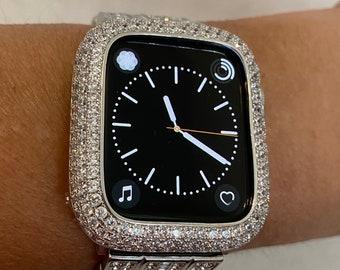 Silver Apple Watch Bezel Cover Lab Diamond Crystal Series 1,2,3,4,5,6,SE Iwatch Bling 38mm 40mm 42mm 44mm Custom Handmade