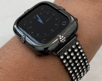 Black Apple Watch Band 38mm 40mm 42mm 44mm and or Teardrop Lab Diamond Bezel Case Cover Iwatch Bling Series 6 blb1