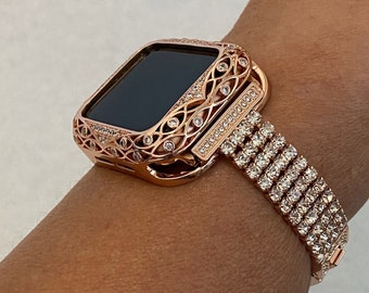 Apple Watch Band Women Rose Gold and or Iwatch Case Crystal Bezel 38mm 40mm 42mm 44mm Series 6 Custom Handmade