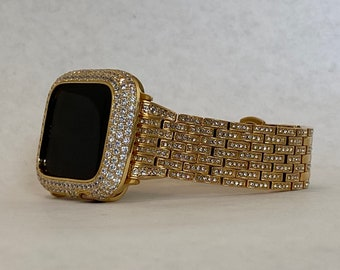 Iced Out Gold Apple Watch Band 38mm 40mm 42mm 44mm and or Apple Watch Bezel Lab Diamond Cover Iwatch Bling Series 6 Custom Hand Made