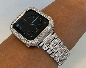 White Gold Apple Watch Band Womens Silver and or 2.5mm Bezel Cover Lab Diamond Iwatch 38mm 40mm 42mm 44mm Custom Handmade