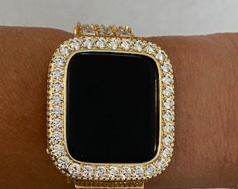 Yellow Gold Apple Watch Bezel 3.5mm Lab Diamond Cover Iwatch Band Bling 38mm 40mm 42mm 44mm b3.5 bzl