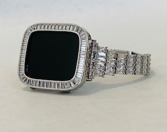 Iced Out Apple Watch Band Womens & or Silver Baguette Lab Diamond Bezel Cover Iwatch Bling Gift for Her Series 6 SE