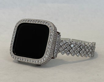 Apple Watch Band Silver and or Lab Diamond Bezel Iwatch Bling 38mm 40mm 42mm 44mm Series 6 Custom Handmade