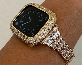 Fits Apple Watch Gold Custom Baguette Band Crystals & or CZ Diamond Bezel Cover 40mm 44mm Handmade