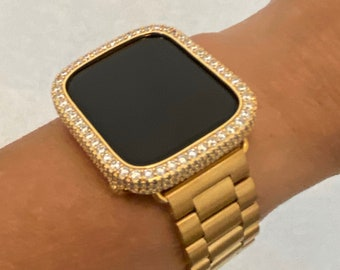Apple Watch Band Series 7 Gold Rolex Style BAND ONLY fits 38mm 40mm 41mm 44mm 45mm Apple Watch Straps