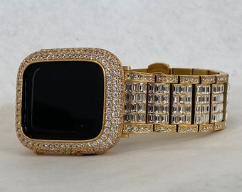 Gold Apple Watch Band 38mm 40mm 42mm 44mm Rolex Style & or Lab Diamond Bezel Cover Gift for Her Him Series 6 Custom Handmade