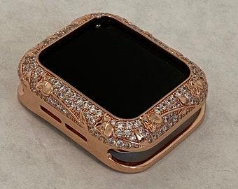 Apple Watch Bezel Cover Rose Gold Metal Cover Floral Design Inset Rhinestones 38mm 40mm 42mm 44mm Series 6 SE  bzl