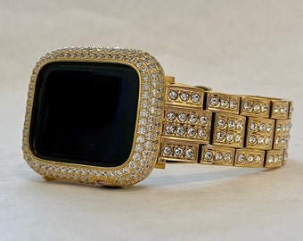 Custom Crystal Apple Watch Band Gold 38mm 40mm 42mm 44mm Lab Diamonds & or Lab Diamond Bezel Case Cover Hand Made