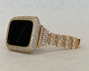 Gold Apple Watch Band Women & Bezel Cover Lab Diamonds 38mm 40mm 42mm 44mm Custom Handmade
