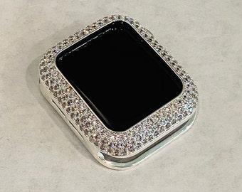 Apple Watch Bezel Cover Silver Metal Case Pave Bling Cz's Rhinestones 38mm 40mm 42mm 44mm Series 6 SE  bzl