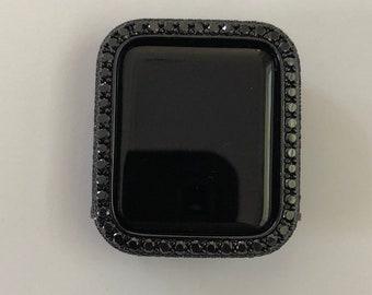 Black Apple Watch Cover Bling 2.5mm Lab Diamond Bezel Series 1,2,3,4,5,6,SE bzl
