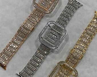 Custom Bling Apple Watch Band 38mm 40mm 42mm 44mm Rolex Style & or Lab Diamond Bezel Cover Series 6 Handmade