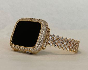 Apple Watch Band Gold Women's & or Metal Lab Diamond Bezel Bumper 38 40 42 44mm Custom Handmade