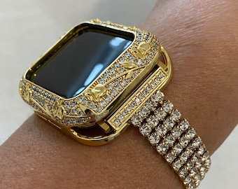 Gold Apple Watch Band Women CZ & or Crystal Floral Bezel Cover 38mm 40mm 42mm 44mm