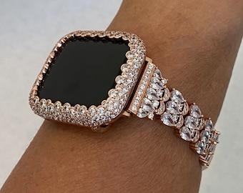 Apple Watch Band Handmade 38mm 40mm 42mm 44mm & or Rose Gold Lab Diamond Bezel Custom