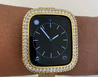 Custom Iced Out Apple Watch Bezel Cover Gold with 2.5mm Lab Diamonds 40mm 44mm Handmade