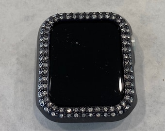 Black Apple Watch Band Cover Bezel Iwatch Case Crystal Faceplate Series 6 SE pv bzl
