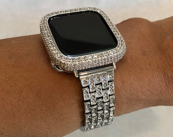 Iced Out Apple Watch Band Silver Bling Apple Watch Bezel Lab Diamond Series 1,2,3,4,5,6,SE Custom Deluxe Iwatch Series sb1