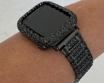 Black on Black Apple Watch Band and or Matching Lab Diamond Bezel 38mm 40mm 42mm 44mm Series 6 SE blb1