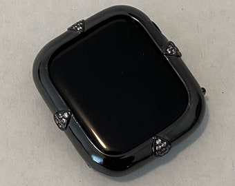 Black Apple Watch Bezel Cover Lab Diamond Crystal Iwatch Bling Ipad Iphone Case 40mm 44mm Gift for Her Him bzl