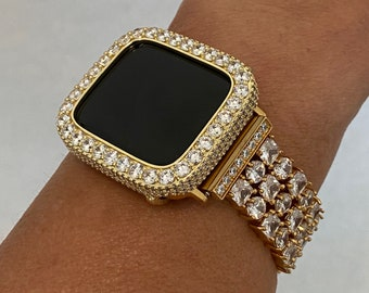 Apple Watch Band 38mm Women Gold and or 3.5mm Lab Diamond Bezel Cover 40mm 42mm 44mm Iwatch Bling Custom