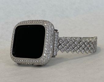 White Gold Apple Watch Band Series 7 Bling Swarovski Crystal Apple Watch Straps 41mm 45mm