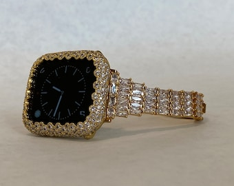 Bling Apple Watch Band Women's & or Gold Pave Bezel Cover Lab Diamonds Gift for Her
