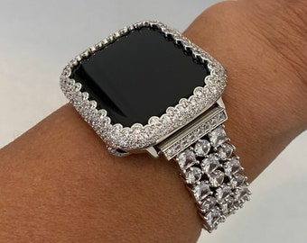 White Gold Apple Watch Band 40mm Silver and or Lab Diamond Bezel Cover Case Bling 38mm 42mm 44mm S6