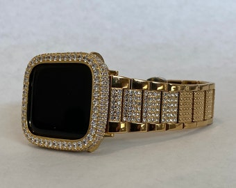 Apple Watch Band 38 40 42 44mm Women's Mens and or Gold Lab Diamond Bezel Crystal Iwatch Case Bling Series 1,2,3,4,5,6,SE