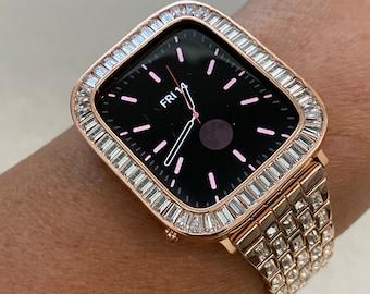 Rose Gold Apple Watch Band Swarovski Crystal Baguettes 38mm 40mm 42mm 44mm & or Baguette Lab Diamond Bezel Cover