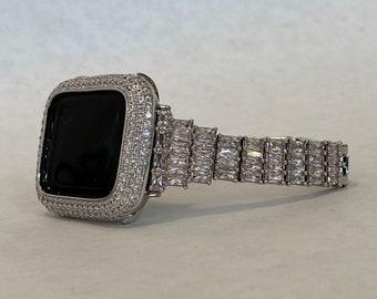 Bling Apple Watch Band Women Silver 41mm 45mm Series 7 Swarovski Crystal Apple Watch Straps