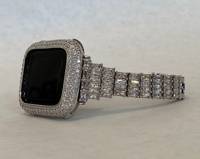 Featured listing image: Bling Apple Watch Band Women Silver & or Pave Bezel Cover Lab Diamonds 38mm 40mm 42mm 44mm Custom Hand Made