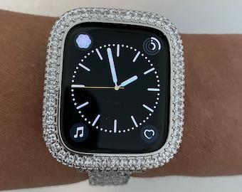 Apple Watch Band Case Cover Silver Metal Bezel 2.5mm Lab Diamonds SC