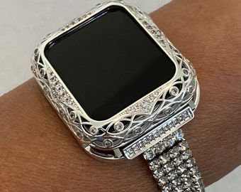 Apple Watch Band 40mm Women's Silver & or Swarovski Crystal Bezel Cover 38mm 40mm 42mm 44mm