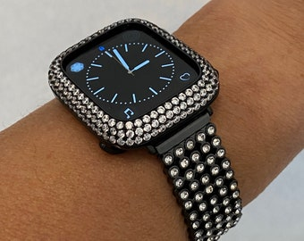 38 40 42 44mm Apple Watch Band Women and or Black Lab Diamond Bezel Cover
