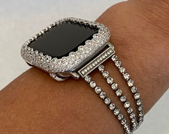 Apple Watch Band Women's Bracelet and or Silver Iwatch Cover Lab Diamond Bezel Bling Series 6 SE sb1