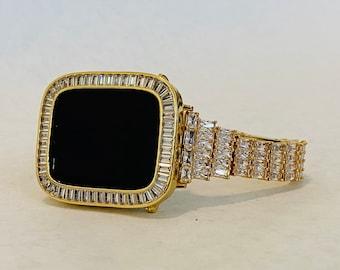 Gold Apple Watch Band 40mm Woman & or Lab Diamond Bezel Cover 38mm 42mm 44mm Iwatch Bling Custom Handmade