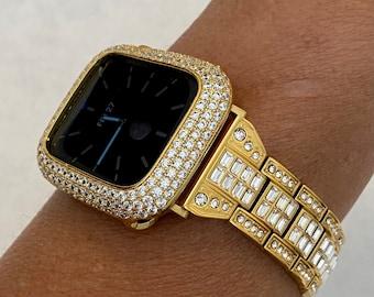 Slim Gold Apple Watch Band 38mm 40mm 42mm 44mm & or Lab Diamond Bezel Cover Gift for Her Him Series 6 Custom Handmade