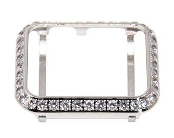 Custom Silver Apple Watch Bezel Women Metal, 3mm Lab Diamond Cover Crystal, Iwatch Band Bling 38mm 40mm 42mm 44mm bzl Hand Made