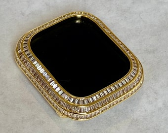 Apple Watch Bezel Cover 40mm 44mm 3 Rows of Lab Diamond Baguettes in 14k Gold Plated Metal