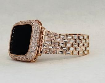 Rose Gold Apple Watch Band Swarovski Crystal Baguettes 38mm 40mm 42mm 44mm & or Pave Lab Diamond Bezel Cover Custom Handmade