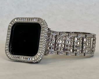 Silver Apple Watch Custom Baguette Band Swarovski Crystals & or CZ Diamond Bezel Cover 40mm 44mm Handmade