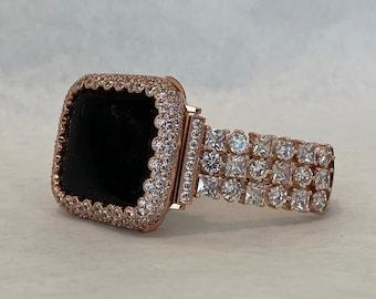 Designer Apple Watch Band Women's Rose Gold CZ or Lab Diamond Bezel Cover Iwatch Bling Custom Handmade