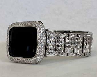 White Gold Apple Watch Band 38mm 40mm 42mm 44mm Rolex Style & or Lab Diamond Bezel Cover Gift for Her Him Custom Handmade