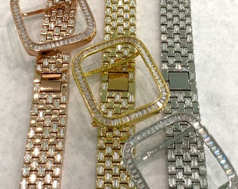 Bling Apple Watch Band 38mm 40mm 42mm 44mm Baguette & or Lab Diamond Bezel Cover Series 6 Gift for Her Him