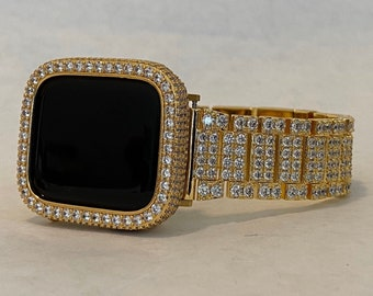 Gold Apple Watch Band Iced Out Lab Diamonds and or Bezel Cover Iwatch Bling 38mm 40mm 42mm 44mm gb1
